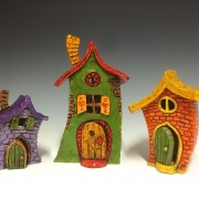 Clay faerie houses by Tammy Gentuso